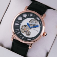 AAA Rotonde de Cartier tourbillon mens watch 18K pink gold white-black dial