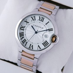 AAA Ballon Bleu de Cartier watch silver dial two-tone 18K pink gold and steel