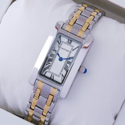 AAA Cartier Tank Americaine watch replica two-tone 18K yellow gold and steel