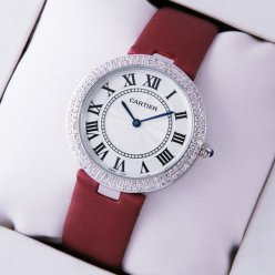 AAA Ronde Solo de Cartier diamond watch for women steel burgundy stain strap