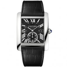 AAA Cartier Tank MC automatic mens watch W5330004 steel black dial