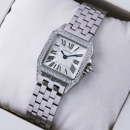 AAA Cartier Santos Demoiselle 18K white gold diamond swiss watch WF9004Y8