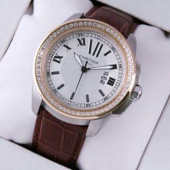 AAA Calibre de Cartier quartz diamond watch two-tone pink gold and steel