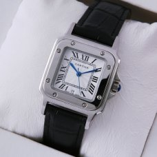 AAA Cartier Santos 100 quartz watch stainless steel black leather strap