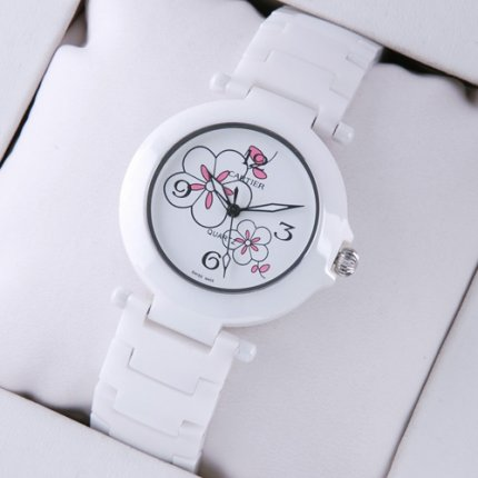 AAA Pasha de Cartier white ceramic womens watch steel white flowers dial