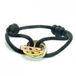 AAA Trinity de Cartier 3-gold bracelet B6016700 black cotton cord for men and women