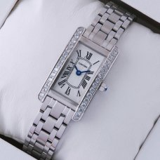 AAA Cartier Tank Americaine diamond steel replica watch for women