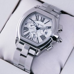 AAA Cartier Roadster Chronograph stainless steel silver dial watch for men