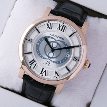 AAA Rotonde de Cartier silver dial black leather strap pink gold replica watch for men