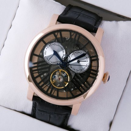 AAA Rotonde de Cartier tourbillon skeleton watch for men 18K pink gold