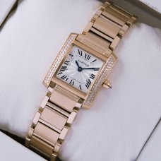 AAA Cartier Tank Francaise 18K pink gold watch with diamonds for women