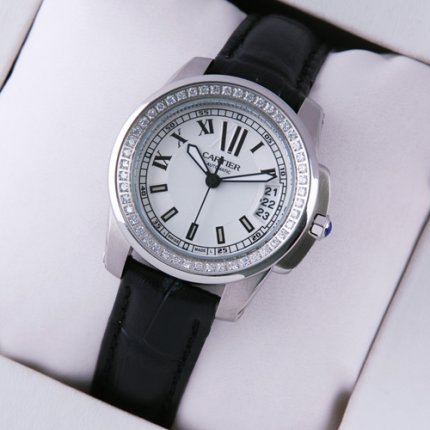 AAA Calibre de Cartier diamond womens watch silver dial steel black leather strap