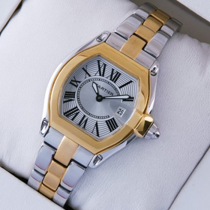 AAA Cartier Roadster small two-tone yellow gold and steel watch for women