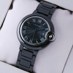 AAA Ballon Bleu de Cartier medium black ceramic watch replica