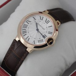 AAA Ballon Bleu de Cartier quartz watch 18kt pink gold brown leather strap