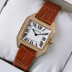 AAA Cartier Santos Dumont diamond watch for women 18K pink gold