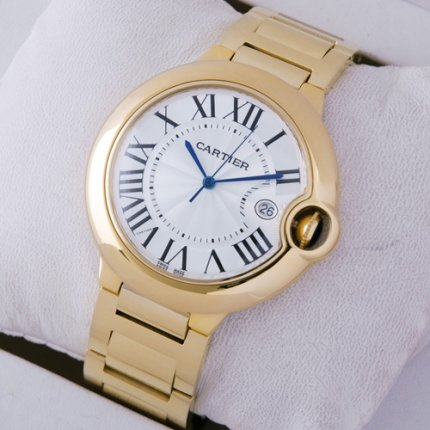 AAA Ballon Bleu de Cartier large silver dial 18kt yellow gold watch