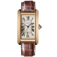 AAA Cartier Tank Americaine mens replica watch W2603156 18K pink gold