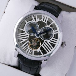 AAA Rotonde de Cartier tourbillon skeleton watch for men steel black leather strap
