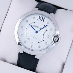AAA Ballon Bleu de Cartier watch diamond dial steel black leather strap