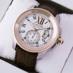 AAA Calibre de Cartier mens watch W7100011 18K pink gold and steel