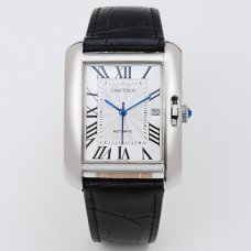 AAA Cartier Tank Anglaise watch for men W5310033 18K white gold black leather strap