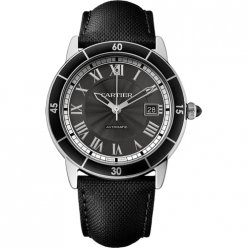 AAA Ronde Croisiere de Cartier Watch steel gray dial black leather WSRN0003
