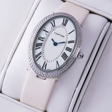 AAA Cartier Baignoire steel diamond watch for women white satin strap