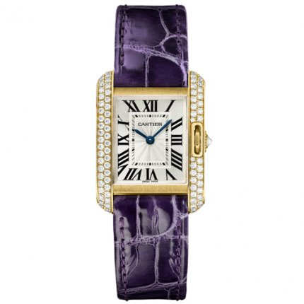 AAA Cartier Tank Anglaise diamond watch WT100014 18K yellow gold leather strap