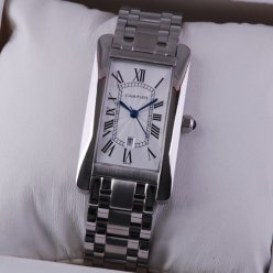 AAA Cartier Tank Americaine 18K white gold watch for men and women