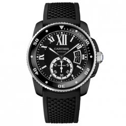 AAA Calibre de Cartier Diver watch WSCA0006 ADLC steel black rubber strap