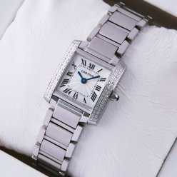 AAA Cartier Tank Francaise steel womens watch with two rows diamonds on bezel