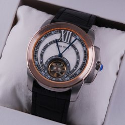AAA Calibre de Cartier Flying Tourbillon mens watch two-tone pink gold and steel