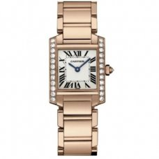 AAA Cartier Tank Francaise womens diamond watch 18K pink gold WE10456H