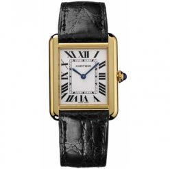 AAA Cartier Tank Solo mens watch replica W5200004 18K yellow gold black leather strap