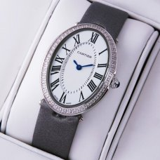 AAA Cartier Baignoire steel diamond watch for women grey satin strap