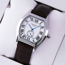 AAA Cartier Tortue medium watch stainless steel brown leather strap