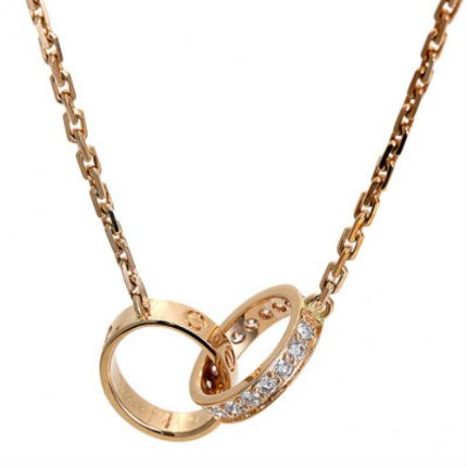 AAA Cartier Love pink gold diamond necklace B7013900