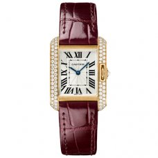 AAA Cartier Tank Anglaise diamond watch WT100013 18K pink gold leather strap