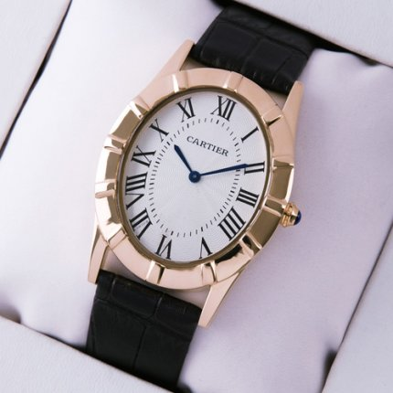 AAA Cartier Baignoire 18K pink gold large watch black leather strap