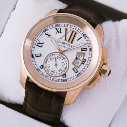 AAA Calibre de Cartier pink gold mens watch W7100009 silver dial