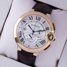 AAA Ballon Bleu de Cartier chronograph watch silver dial 18K pink gold brown leather strap