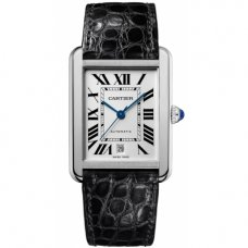 AAA Cartier Tank Solo mens watch W5200027 stainless steel black leather strap
