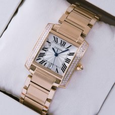 AAA Cartier Tank Francaise diamond swiss mens watch 18K pink gold