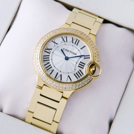 AAA Ballon Bleu de Cartier quartz watch with diamonds 18kt yellow gold