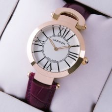 AAA Ronde Solo de Cartier watch for women pink gold silver dial purple leather strap