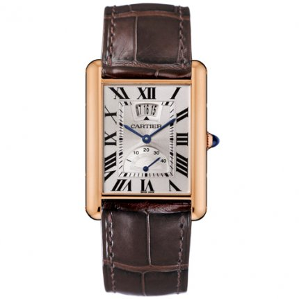 AAA Cartier Tank Louis power reserve mens watch W1560003 18K pink gold