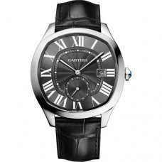 AAA Drive de Cartier watches steel black dial and leather strap WSNM0009
