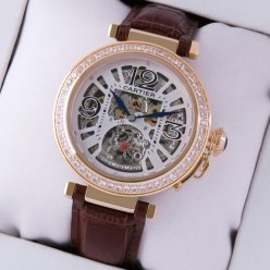 AAA Pasha de Cartier large skeleton diamond unisex watch yellow gold