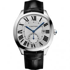 AAA Drive de Cartier watches steel silver dial black leather strap WSNM0004